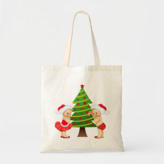 Christmas Tote with Vintage Baby Girl and Boy