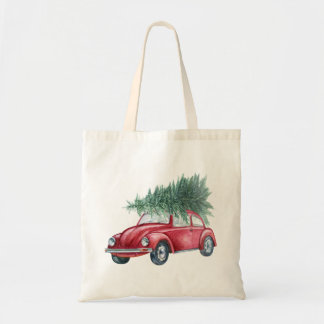 Christmas Tote with Vintage Red Car and Tree