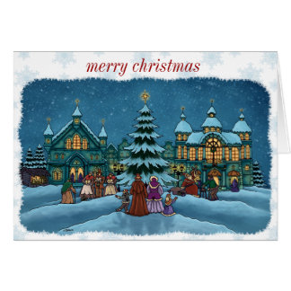 christmas town note card snowy edge