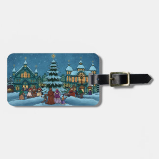 christmas town winter holiday luggage tag