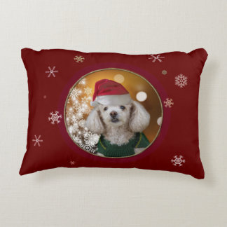 Christmas toy poodle accent pillow