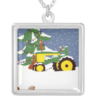 Christmas Tractor with Tree & Lights Necklace