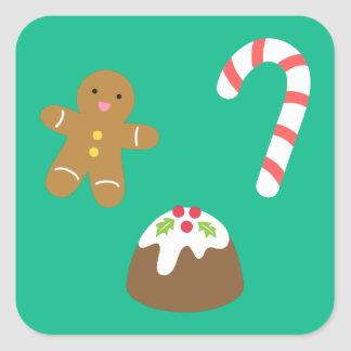 Christmas Treats - Gingerbread Man, Candy, Pudding Square Sticker
