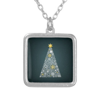 Christmas tree4 silver plated necklace