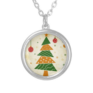 Christmas tree5 silver plated necklace