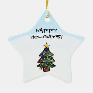 Christmas Tree 2 Ceramic Star Ornament