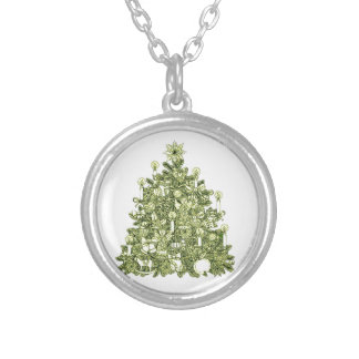 Christmas Tree 2 Silver Plated Necklace
