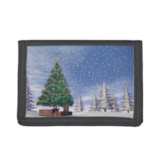 Christmas tree - 3D render Tri-fold Wallets