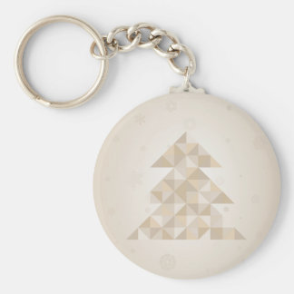Christmas tree a triangle basic round button keychain