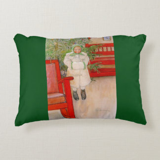 Christmas Tree and Child in Fur Decorative Pillow