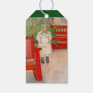 Christmas Tree and Child in Fur Gift Tags