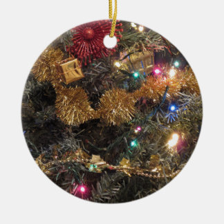 Christmas tree and Christmas decorations Round Ceramic Ornament