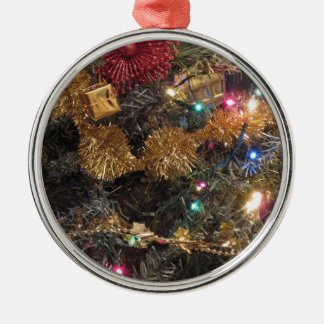 Christmas tree and Christmas decorations Silver-Colored Round Ornament