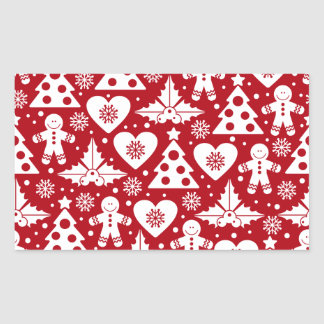 Christmas Tree and Gingerbread Man Pattern on Red