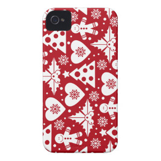 Christmas Tree and Gingerbread Man Pattern on Red iPhone 4 Cover