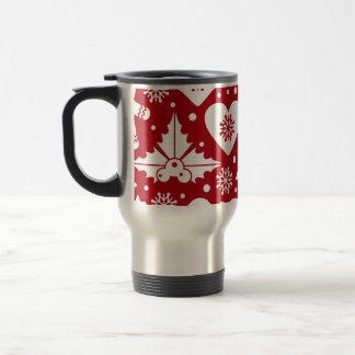 Christmas Tree and Gingerbread Man Pattern on Red Travel Mug