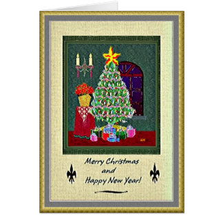Christmas Tree and Happy New Year Greeting Card