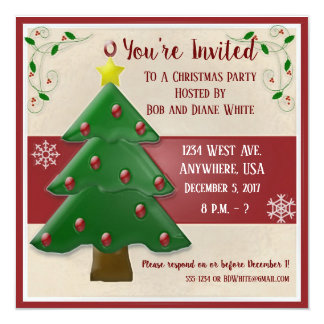 Christmas Tree and Holly Party Invitation