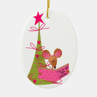 Christmas Tree and Reading Mouse Ceramic Ornament