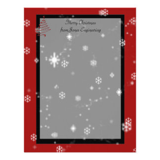 Christmas Tree and Snowflakes on Red and Black Personalized Letterhead