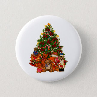 Christmas Tree and Teddy Bears 2 Inch Round Button
