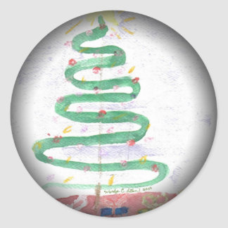 Christmas Tree art by Fade to Black Round Stickers