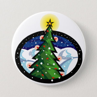 Christmas Tree at Night 3 Inch Round Button