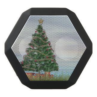 Christmas tree background - 3D render Black Bluetooth Speaker