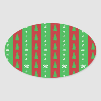 Christmas Tree Backgroundpattern Oval Sticker