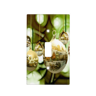 christmas tree balls with santa claus wand snow fl light switch cover