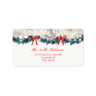 Christmas Tree Birch Bark Yuletide Swag Bow Label