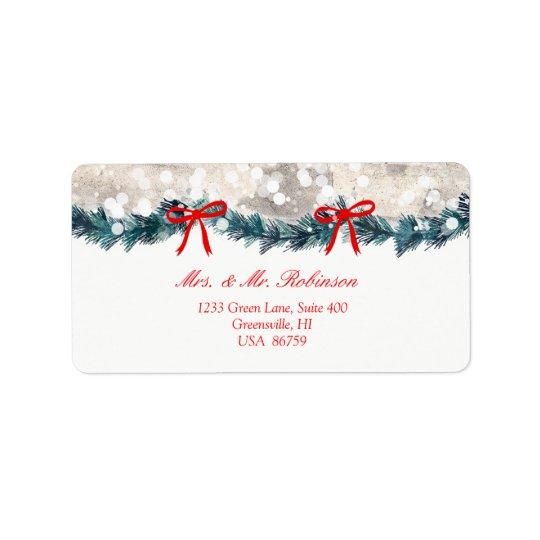 Christmas Tree Birch Bark Yuletide Swag Bow Label