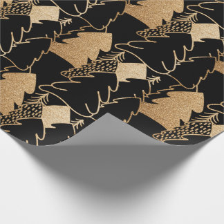 Christmas Tree Black Gold Fancy Glitter Wood Wrapping Paper