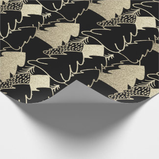 Christmas Tree Black Sepia Gold Fancy Glitter Meta Wrapping Paper