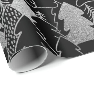 Christmas Tree Black Silver Gray Fancy Glitter Wrapping Paper