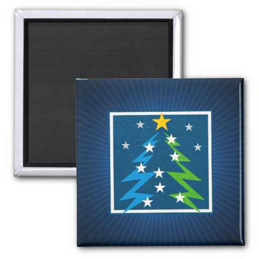 Christmas Tree blue background - Square Magnet