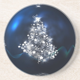 christmas tree blue ball star coaster