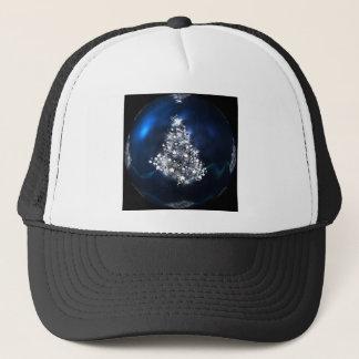 christmas tree blue ball star trucker hat
