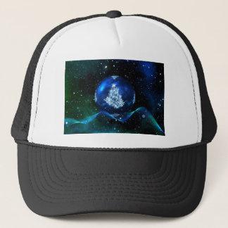 christmas tree blue ball trucker hat