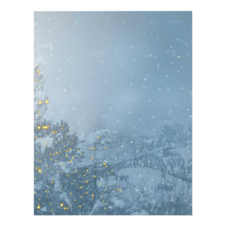 Christmas tree blue snowing letterhead