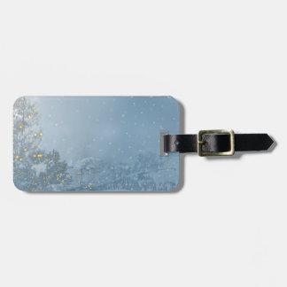 Christmas tree blue snowing luggage tag