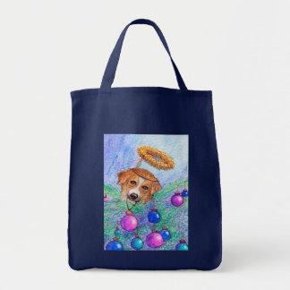Christmas tree border collie dog (fairy) tote bag