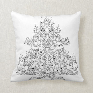 Christmas tree bow and baubles throw pillow