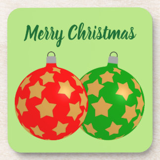Christmas Tree Bulb Gold Stars Customize /Set of 6 Coaster
