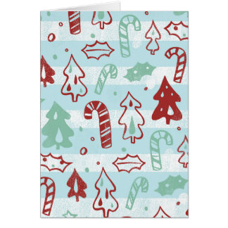 Christmas Tree Candy Cane Holly Pattern on Blue Greeting Card