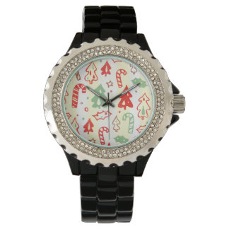 Christmas Tree Candy Cane Holly Pattern Wrist Watch