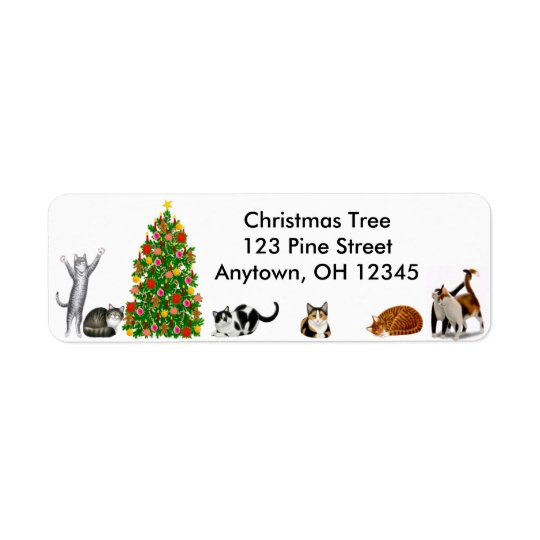 Christmas Tree Cats Label Return Address Label