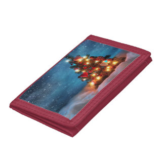 Christmas tree - Christmas decorations -Snowflakes Trifold Wallets