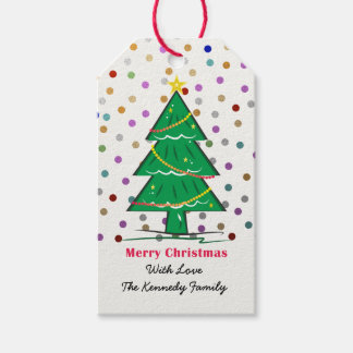 Christmas Tree Confetti Dots Christmas Holiday Pack Of Gift Tags