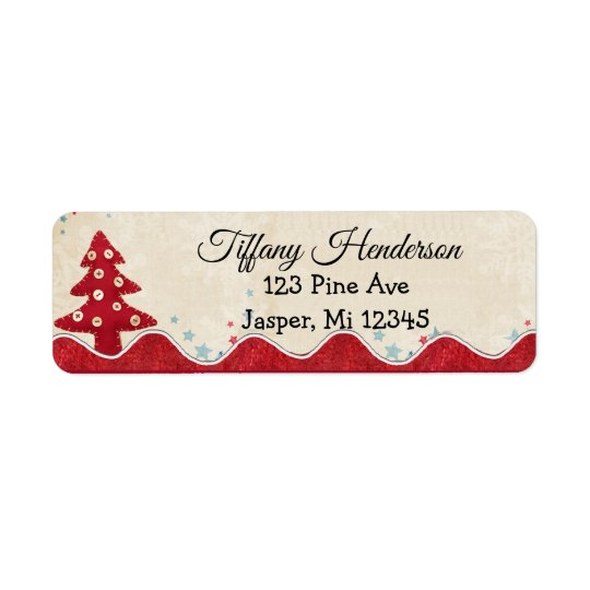 Christmas Tree Country Button Return Address Label